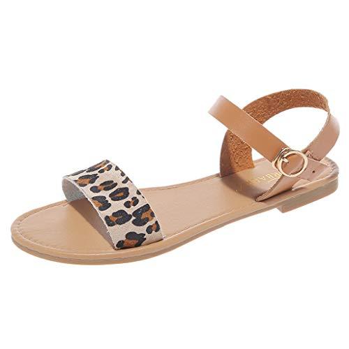 Size 5-9 Woman Summer Leopard Flat Bottom Roman Sandals Casual Open Toe Shoes Adjustable Comfortable Beach Sandals (Khaki, 7 M US)
