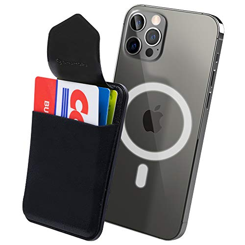 Sinjimoru Magnetic Wallet Compatible with iPhone 12 Magsafe, Phone Wallet Stick on as Detachable Phone Card Holder for Back of Phone. Sinji Pouch M-Flap, Negro