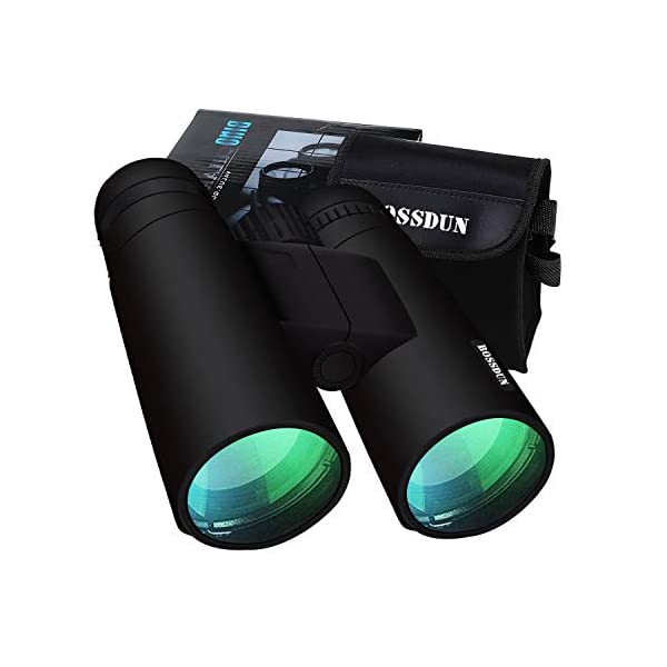 BOSSDUN 12x50 Binoculars for Adults,Waterproof Lightweight Compact Binocular,Prism BAK4 FMC Lens HD Binoculars for Bird Watching Hunting Traveling with Carrying Bag Black