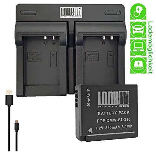 Premiumakku BLG10 + LOOKit Dual Ladegerät + Netz Kabel für Panasonic LUMIX Systemkamera DMC-GX80KEG GX80K2 GX80H GX80HEGK GX80HEG K GX80WEGK - 100% dekodiert - mit Infochip - mit Restlaufzeitanzeige -
