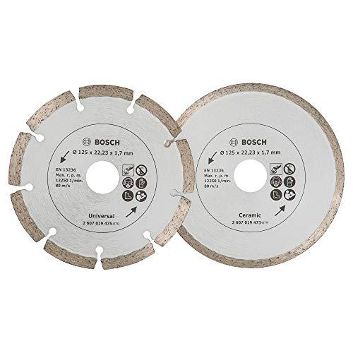 Bosch 2 Stück Diamanttrennscheiben (für Fliesen und Baumaterial, Ø 125 mm, Zubehör Winkelschleifer)