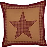 VHC Brands Ninepatch Star Quilted Pillow 12x12 Country Bedding Accessory, Burgundy