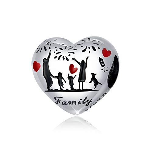 """Ciondolo a forma di cuore in argento Sterling 925, con scritta """"family"""", compatibile con braccialetti e collane Pandora"""