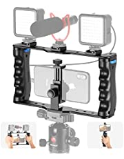 Neewer Aluminum Smartphone Video Rig, Filmmaking Case, Phone Video Stabilizer Grip Tripod Mount for Videomaker Film-Maker Video-grapher Compatible with iPhone 11 11 Pro 11 Pro Max X Xs Huawei Samsung