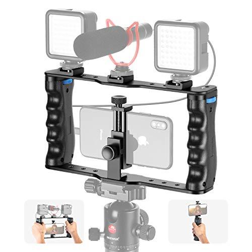 Neewer Aluminium Smartphone Video Rig Filmemacher Cage Handy Video Stabilisator Handgriff Stativhalterung für Videofilmer Kompatibel mit iPhone 11 11 Pro 11 Pro Max X Xs Huawei Samsung