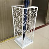 WWWL Paragüero tipo europeo de hierro forjado, soporte de almacenamiento en el hogar, cubo, paraguas, paraguas, barril, vintage, creativo, 1 unidad, color blanco