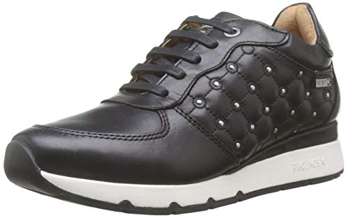Negro Jardines Junior a531110F, Zapatillas deportivas niña de piel con tachuelas, Grigio (Delavè Antracite) (Zapatos)