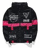 AITFINEISM Men's Lightweight Windbreaker Casual Color Block Jacket with Hooded (Medium, Black)