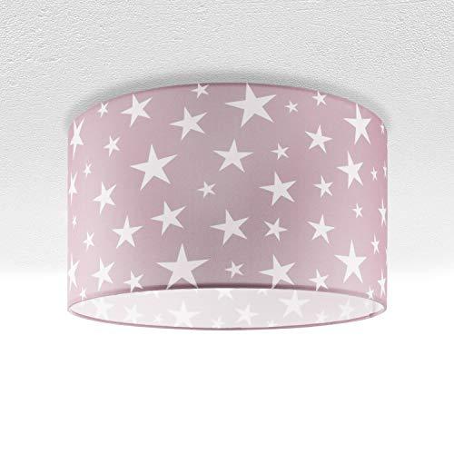Lampada da bambini lampada da soffitto LED lampada a sospensione camera dei bambini motivo con cielo stellato E27, Paralume:Rosa (Ø38 cm), Tipo di lampada:Plafoniera argento