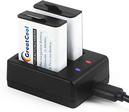 GreatCool Action Cam Batteria Ricaricabile 2 1050 mAh con Doppio USB Caricabatteria per Cooau/Apeman/SJCAM/WiMiUS/Campark/Victure/DBPOWER/Crosstour/Jeemak Sportiva 4K Fotocamera etc