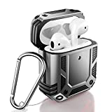 ZADORN Airpod Case,Military Grade Protective Cases for Airpods 1st/2nd with Hard PC and Soft TPU Cover,15ft. Drop Tested Shockproof Airpod Case with Keychain Compatible with Wireless Charging Silver