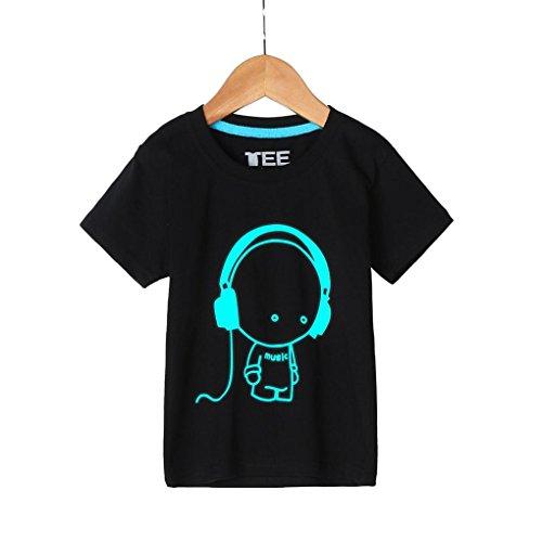 Kinderkleidung Jungen,Binggong Sommer Familie Kinder Jugend Und Vater Headset Kurzarm Fluoreszenz T-Shirt Kleidung Familienspiel Outdoor Sport Kurzarm (150CM, Schwarz)