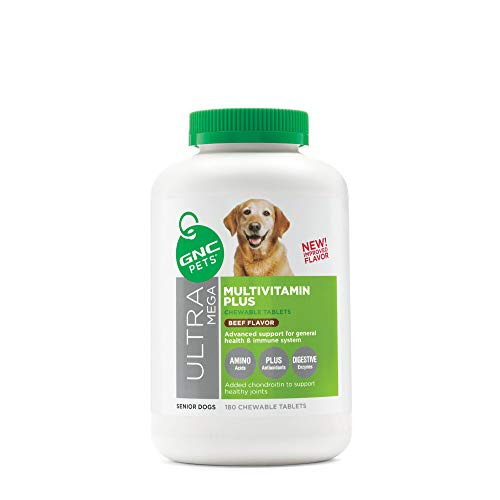 GNC Pets Ultra Mega Multivitamin Plus Chewable Tablets Dog Supplement for Senior Dogs, 180 Count - Beef Flavor | Advanced Support for General Health & Immune System