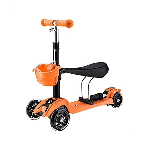 2 en 1 Scooter para niños, Scooter Plegable con una Cubierta Adicional Amplia, con Ruedas de Parpadeo de PU y 4 Alturas Ajustables, adecuadas para niños y niñas de 1 a 6 años,Naranja