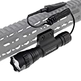 Haitengwen T1200 Rechargeable 500 Lumen Tactical Flashlight Keymod Rail Integrated Mount with Detachable Remote Pressure Switch
