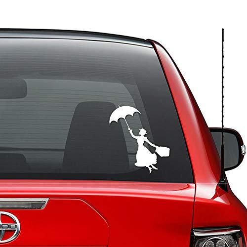 Mary Poppins Paraplu Vliegende Vinyl Sticker Auto Vrachtwagen Voertuig Bumper Venster Muurdecoratie Helm Motorfiets en Meer - Maat (5 Inch / 13 cm Hoog) - Kleur (Glanzend Wit)