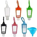 6 Piezas 30ml Botellas de Viaje y 1 Embudo, Botella Recargable Vacía, Transparente Plástico Portátil Prueba Fugas Botellas con Funda de Silicona para Cosméticos, Lociones