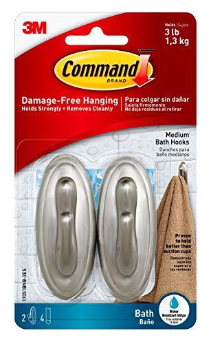 Command Traditional Plastic Bath Hooks, Medium, Brushed Nickel, 2-Hooks, 4-Water Resistant Strips, Organize Damage-Free