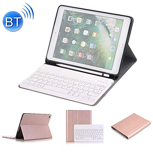 XUAILI Tablet Keyboard Case Detachable Bluetooth Keyboard + Horizontal Flip Leather Case with Holder & Pencil Holder, for IPad Pro 9.7 Inch, IPad Air (Color : Rose Gold)