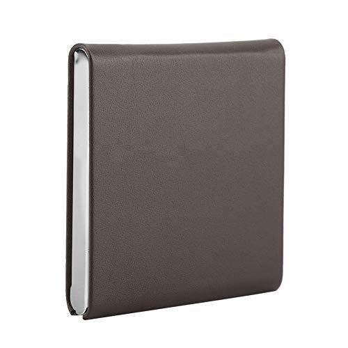 ZHC Caja de cigarrillos de bolsillo ultrafino con marco de metal de piel sintética de 10 tamaños regulares (café de acero inoxidable + artículo de PU)