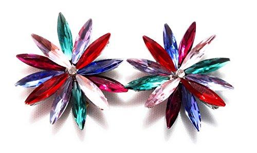Pendientes Cristales Colores Mujer Fiesta Boda Pendientes Elegantes con Forma de Flor y Dorso Chapado Plata, Multicolor