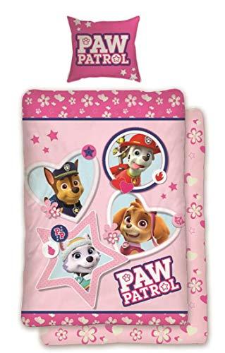 Paw Patrol Mädchen Bettwäsche 135x200 cm 80x80 | Kinder Bettwäsche Set Baumwolle Rosa Pink Öko-Tex Standard 100 Deutsche Standardgröße