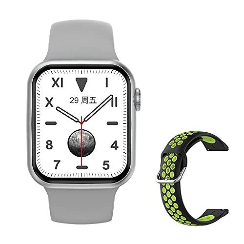 Reloj inteligente DT100. Reloj inteligente con llamada Bluetooth para hombre hembra de 1,75 pulgadas, 320 x 385 dinámico, 2021, adecuado para Android iOS. (Color: verde plateado)