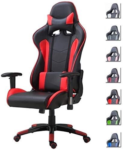 Delman Gaming Stuhl Bürostuhl Racing Stuhl Gamer Ergonomischer Stuhl Einstellbare Armlehne Einteiliger Stahlrahmen Einstellbarer Neigungswinkel 02-1004 (Schwarz-Rot)