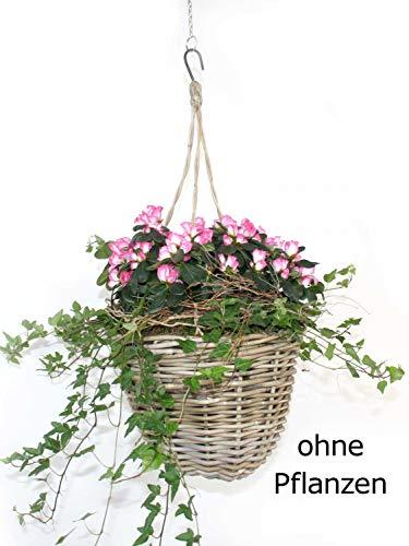 casamia Pflanzampel Blumenampel für Übertöpfe Ø 23 cm mit Kunststoffinlett aus Rattan kubu Grey