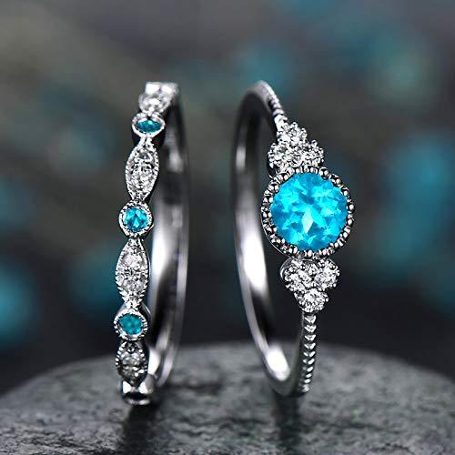 Janly Clearance Sale Anillos para mujer, joyería para parejas, 1 par de anillos, tamaño 9, joyería y relojes para Navidad, día de San Valentín (azul cielo)