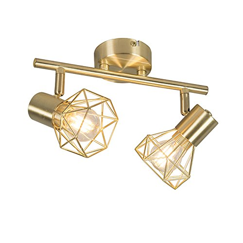 QAZQA - Modern Art Deco Spot | Spotlight | Deckenspot | Deckenstrahler | Strahler | Lampe | Leuchte Messing dreh- und neigbar - Mosh 2-flammig | Wohnzimmer | Schlafzimmer | Küche - Stahl Länglich - LE
