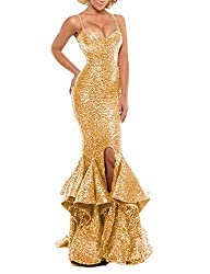 Gold Sequin Prom Gown Mermaid Bodycon Dress