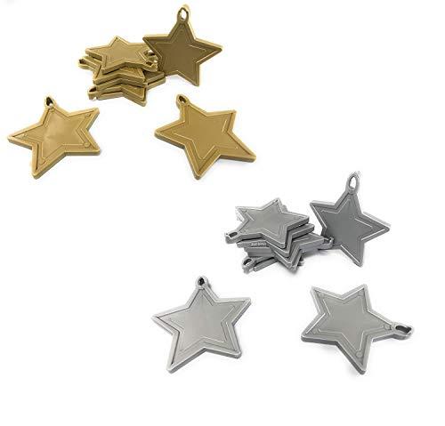 INERRA Estrella Pesas para Globos para Globos de Helio Globos - Pack de 10 Mezclado (5X Dorado y 5X Plata)