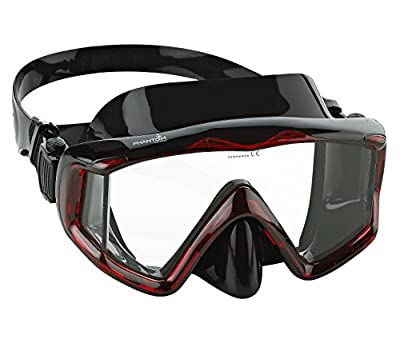 Phantom Aquatics Panoramic Scuba Snorkeling Dive Mask, Black/Red
