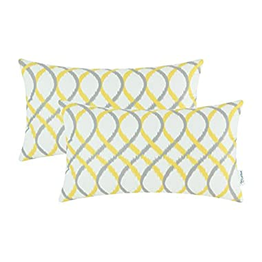 Pack of 2 CaliTime Cozy Bolster Pillow Cases Covers for Couch Bed Sofa, Modern Two-tone Waves Geometric, 12 X 20 Inches, Gray Yellow