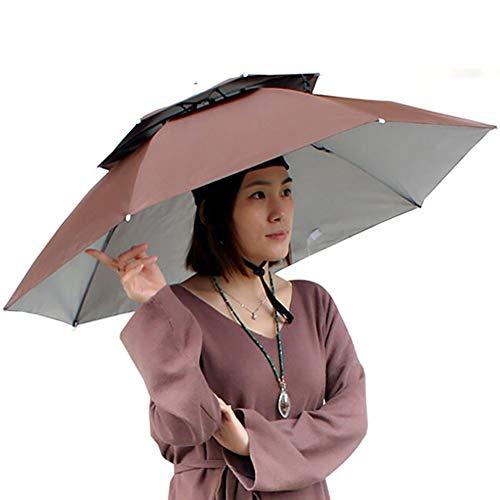 xnbnsj Doppelter Winddichter Angelschirm Schirm Kappe Faltbarer Kopf mit Schirm Angelkappe Sonnenschutz Cap