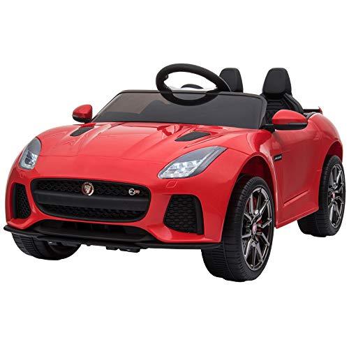 HOMCOM Coche Eléctrico Infantil Coche Juguete Jaguar F-Type SVR Niño de +3 Años con Mando a Distancia con Música y Luces Doble Apertura de Puerta Batería 6V Carga 25kg 110x65x48cm Rojo