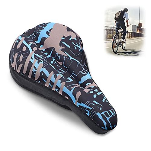 Funda sillin Bicicleta Gel,Resistente al Desgaste, Antideslizante, Adecuado para Bicicletas de Carretera,Bicicletas de montaña y Bicicletas urbanas (Azul Camuflaje)
