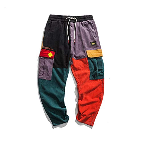 Loeay Herren Kausal Hosen Hip Hop Streetwear Color Block Jogger Hosen Cord Hosen Elastische Taille Harem Patchwork Hose L