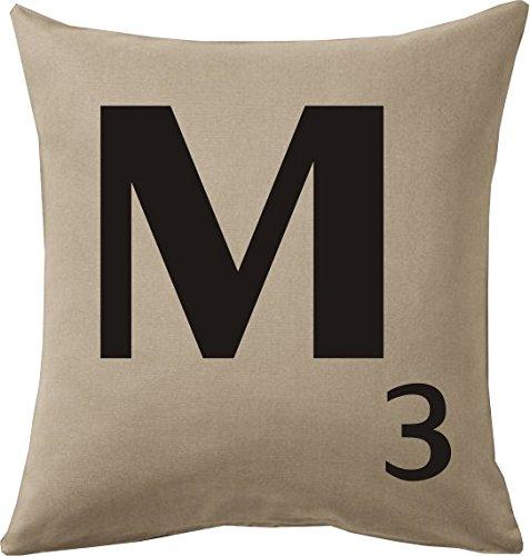 Cojines con la Letra M imitación fichas de Scrabble o apalabrados Medida 45X45 cm. Color beig. Solo Funda