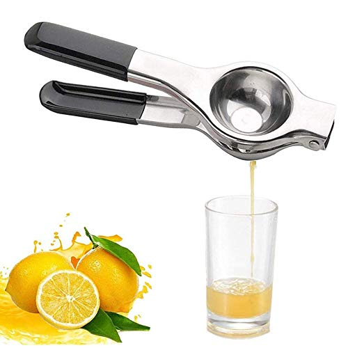 Lemon Squeezer Stainless Steel Manual Juicer Citrus Press with Super Large Bowl, with Black Silicone Handles Manual Juicer, Perfect for Juicing Oranges, Big Lemons & Limes (Black)
