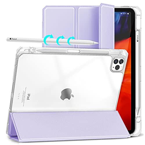 Gahwa Cover per iPad Pro 11 Pollici 2021/2020/2018, Ultra Sottile Retro Trasparente Custodia con Portapenne Supporto a Tri-Fold, Automatica Case in Svegliati/Sonno Protezione Completa - Viola