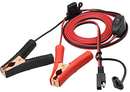 AAOTOKK SAE Crocodile Clip Cable 16 AWG Arnés de Cables SAE a Alligator Crocodile Clip12V DC Cable Extensión con Interruptor y Caja Fusibles Cable Acción Rápida Conexión/Desconexión(2.4m/7.8ft)