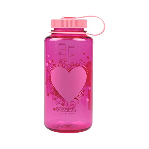 Nalgene Tritan Wide Mouth BPA-Free Water Bottle, Pink Heart, 1 Quart