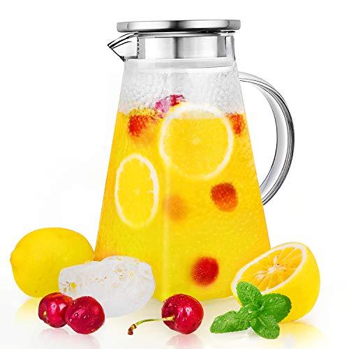 CNNIK Jarras de Cristal, 1500ml Borosilicato Jarras para Agua con Tapa de Acero Inoxidable, Botella de Cristal con Patrón, Jarras de Vidrio para Bebida Caliente/Fría (sin BPA)