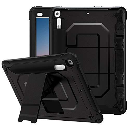 MoKo Custodia Compatible con 2018/2017 iPad 9.7 6th/5th Generation con Supporto Penna, Tablet, Tracolla Regolabile, Accessori Tablet, Case per New iPad 9.7 inch 2018/iPad 9.7 inch 2017 - Nero