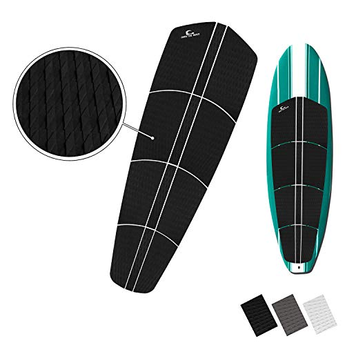 Own the Wave 12pc Customizable Grip Pad - Ultimate Grip with Stickiest 3mm Adhesive Guaranteed to Stick on All Boards Surfboard, Longboard, SUP Board, Skim Board - with Wax Comb (Black)