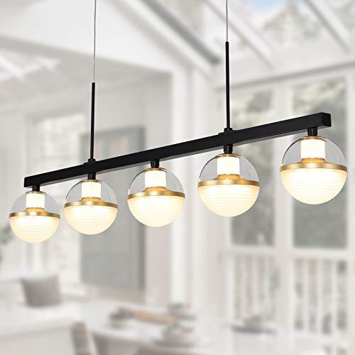 Joyxeon - Lámpara de iluminación para isla de cocina, 5 luces, iluminación para el comedor, barra de cocina LED integrada, lámpara de mesa de billar industrial, 3000 K, blanco cálido, negro y dorad