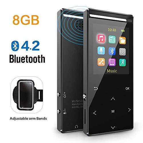 Reproductor MP3 Bluetooth 8GB Música Podómetro Grabador Radio FM Grabación Soporta hasta 128GB