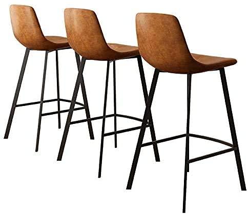 WENYA Barstool Faux Bar Bar Taburetes Tablas de vestir rústicas con espalda y reposapiés, Barra de cocina Sillas de taburete Conjunto de 3, Marrón, Altura de la sesión: 65 cm / 75cm, 65cm-Set de 3,65